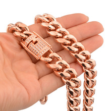 Fashion 14mm Wide 7-40inch Length Mens Rose Gold Color Stainless Steel Miami Curb Cuban Link Chain Necklace Or Bracelet Jewelry