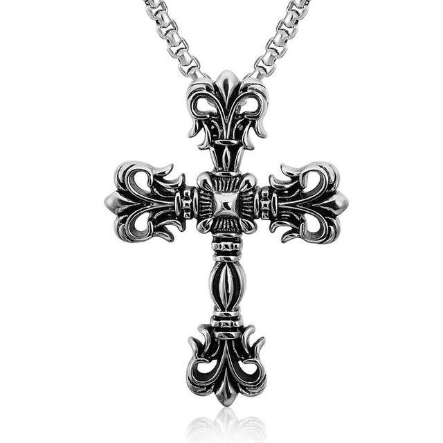 Amgjdk Vintage Big Pendant Cross Necklace Fleur De Lis Gothic Style Cross Jewelry For Men Punk