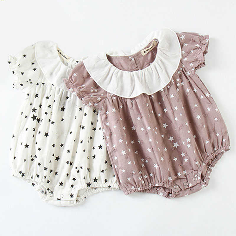 New 2019 Baby Girls Clothing Fashion Lapel Short Sleeves Rompers Summer Stars Printing Infant Clothes Baby Girls Rompers