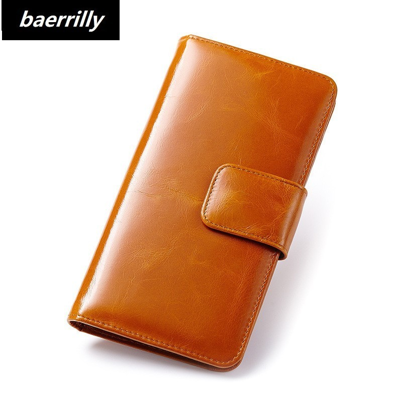 Genuine Oil Wax Leather Wallet for Women Female RFID Blocking Wallets Big Travel Zipper Women's Purse Ladies Long Phone Holder women fashion designer double zipper oil wax genuine leather wallet rfid blocking long purse day clutches for men high quality