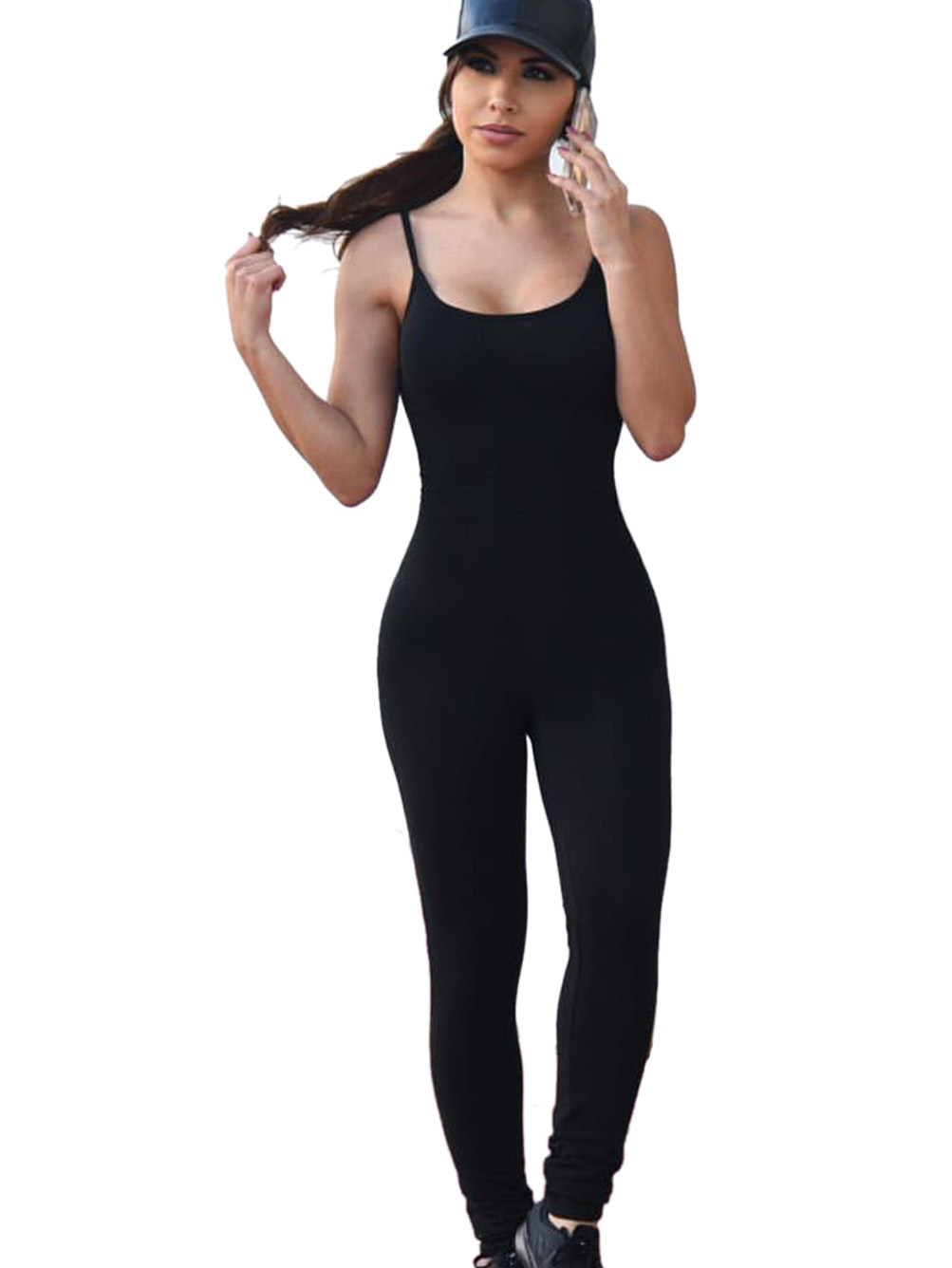 Slim Solid Jumpsuits Black Strapless O-Neck Skinny Long Jumpsuit Casual Bodycon 2016 New Arrival Autumn Sexy Rompers