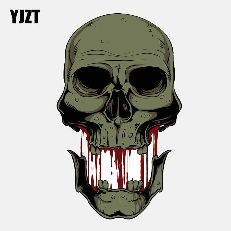 YJZT 9CM*14.8CM Creative Skull Separation Car Sticker Helmet Window PVC Decal 6-2674