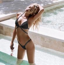 2019 Women's Sexy Mesh Bikini Set Hollow Out Tops Bandage Swimsuit Sexy Mini String Thong Swimwear Bathing Suit Beach Wear W9299