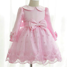 2015 New 2-13Y Girl Pink Party Wedding Long Sleeve Peter pan Collar Flower Princess Dresses Bridesmaid Pageant Ball Gowns Tutu