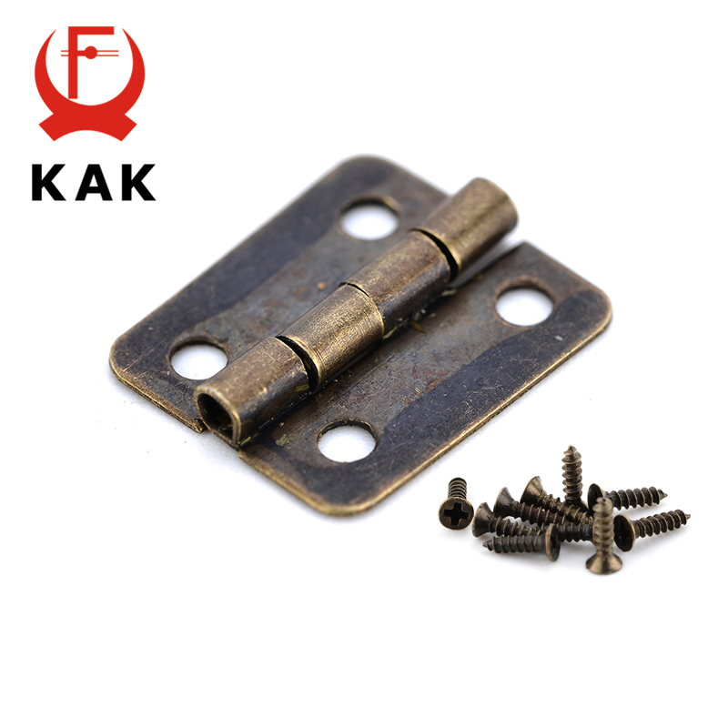 10PCS KAK Mini Bronze Gold Hinge Square Antique Door Hinges For Wooden Cabinet Drawer Jewellery Box Furniture Hardware 10pcs cabinet door butt hinges mini drawer bronze decorative mini hinges diy accessories small wooden box decoration