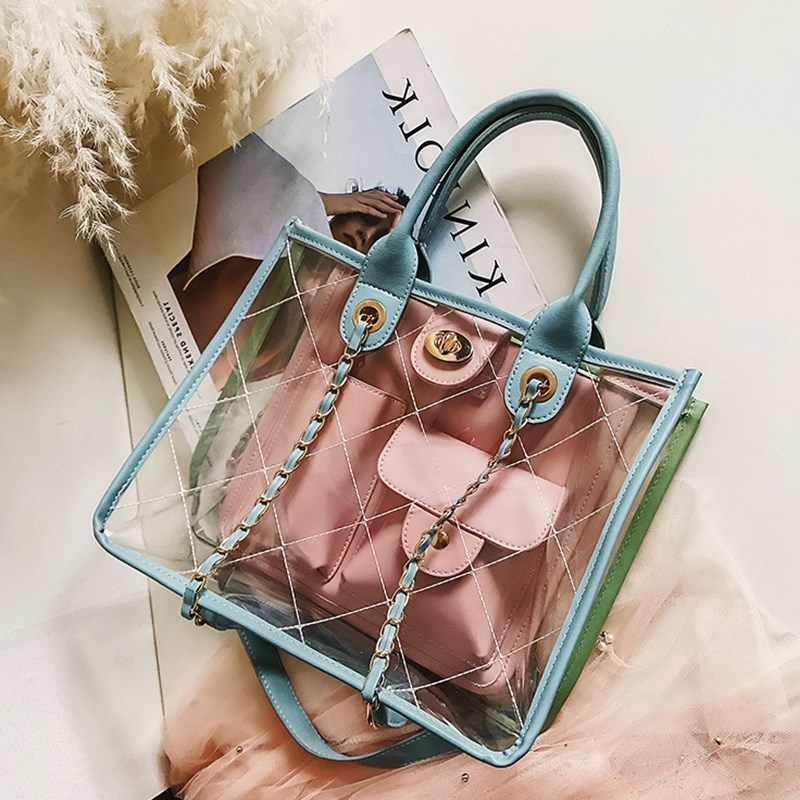 Women Clear Transparent Tote Bag PVC 2018 Summer Plastic Plaid Quilted Beach Bag Chain Big Jelly Handbag Men Luxury Brand Design vintage women s tote bag with strap and plaid design