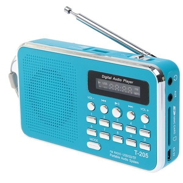 RACAHOO Портативный Цифровой Мультимедийный Динамик, Fm-радио-Синий handsfree HiFi Спикер Карт T-205