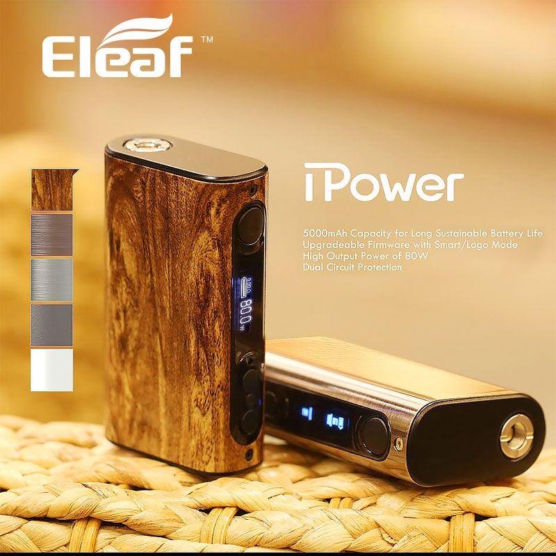 100% Original Eleaf iPower 80W Box MOD with 5000mah Built-in Battery Temp Control E cigarette Mod Upgradeable firmware Vaporizer