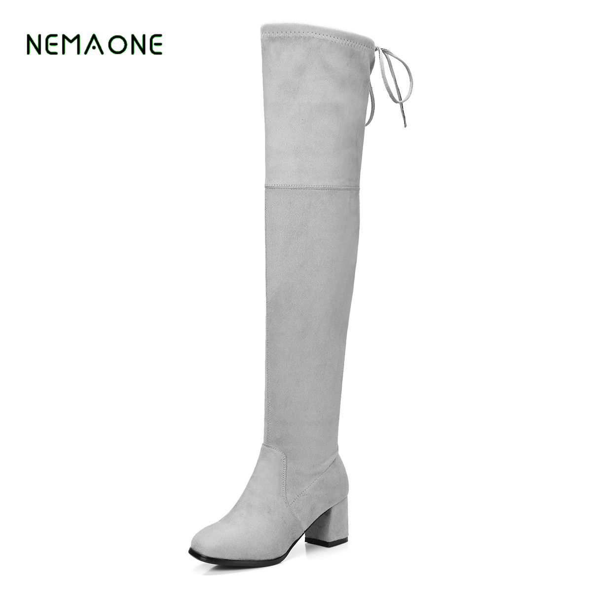 NEMAONE 2017 new Square Heel Platform Over The Knee Boots Fashion Buckle Dress Woman Winter Boots Round Toe Boots gray ...