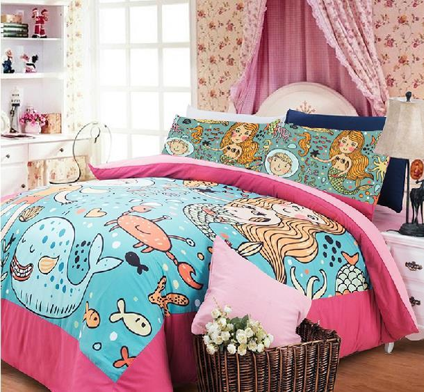 Mermaid Bedding Print Comforter Sheets Twin Beding Set