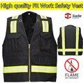 High quality flame retardant clothing safety reflective vest FR Vest black vest workwear work vest