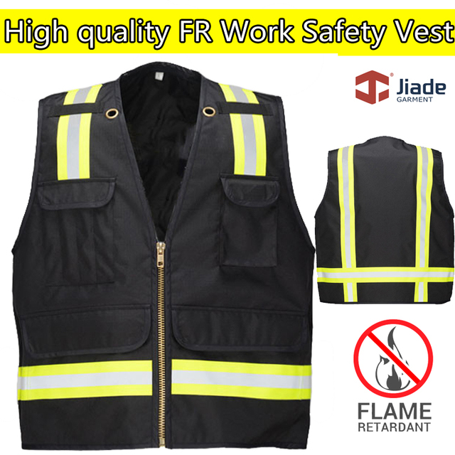 3e81c8fa092d Jiade High quality flame retardant clothing safety reflective vest FR Vest  black vest workwear work vest