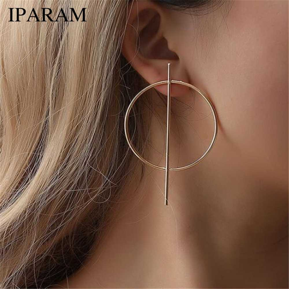IPARAM Personality Exaggerated Geometry Big Circle Earrings Female Punk Glamour Fashion Gold and Silver Earrings Jewelry