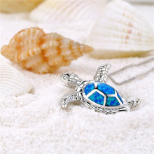 New Fashion 1PCS Silver Filled Blue Opal Sea Turtle Cutout Pendant Chain Women Necklace Beach Gift 2019 choker(China)