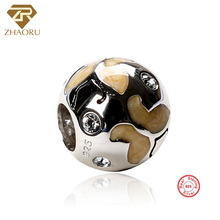 Zhaoru Authentic 925 Sterling Silver Enamal Pendant Charm Fit Bracelet & Bangle Necklace DIY Fine Jewelry Crystal Bead