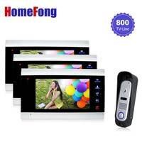Homefong Wired Doorbell video Intercom System 1v3 Intercom Camera Video Door Phone Color Doorbell Camera Day/Night Vision
