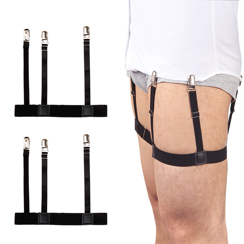 2 Pcs Men Shirt Stays Belt With Non-slip Locking Clips Keep Shirt Tucked Leg Thigh Suspender Garters Strap Cinturones Hombre