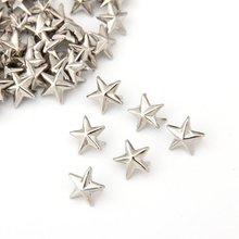 Промо-акция! 100 х серебряная звезда заклепки для сумки/обуви/перчаток 10 мм