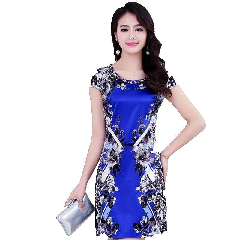 Wanita Gaun Musim Panas Baru kualitas Tinggi Emulasi sutra Gaun Manis  ukuran besar lengan Pendek Gaun Slim Kantor Wanita Gaun Pendek G2505 aac3728a86