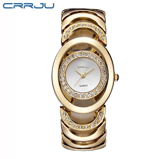Assez Marque de luxe CRRJU Quartz Montre Femmes Or Acier Bracelet 3ATM  QH71