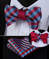 BE02R Red Blue Check 100%Silk Double Sided Woven Men Butterfly Self Bow Tie BowTie Pocket Square Handkerchief Hanky Suit Set