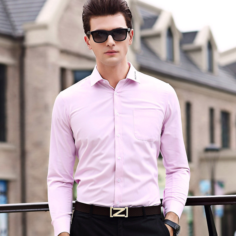 New 2017 Men S Business Formal Shirt Solid Color Dress Office Wear Male Shirts Camisa Masculina Social Homme In Casual From