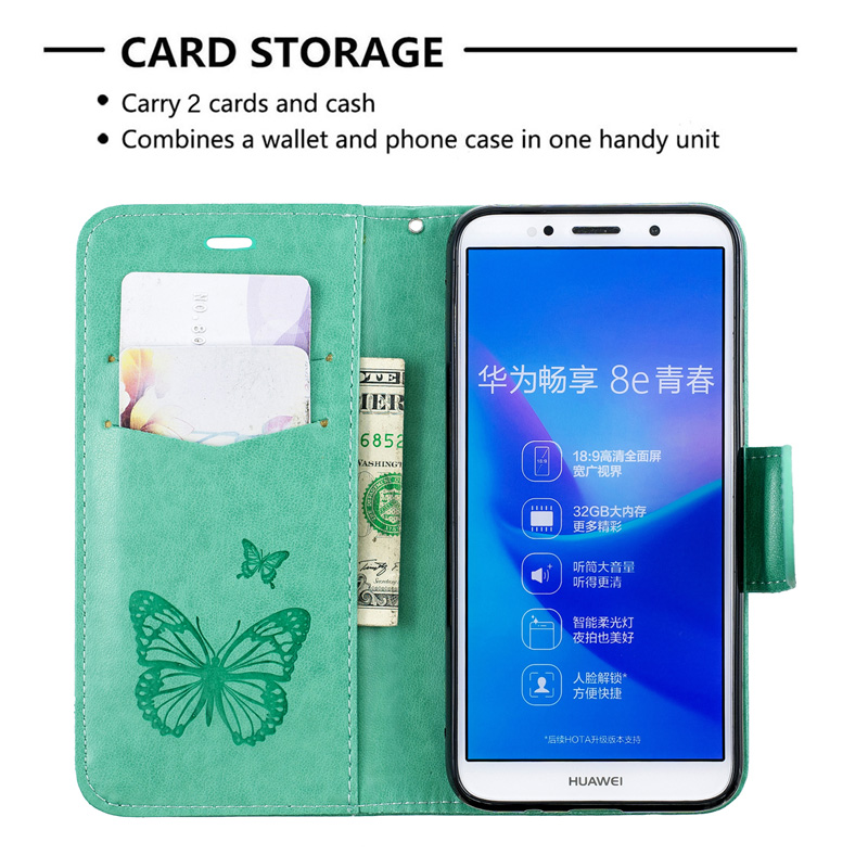 2019 New Butterfly Flip Case For Huawei Y5 2018 Cover PU Leather Wallet Bag For Honor 7A Case Honor 7S Cell Phone Book Coque lt in Flip Cases from Cellphones amp Telecommunications