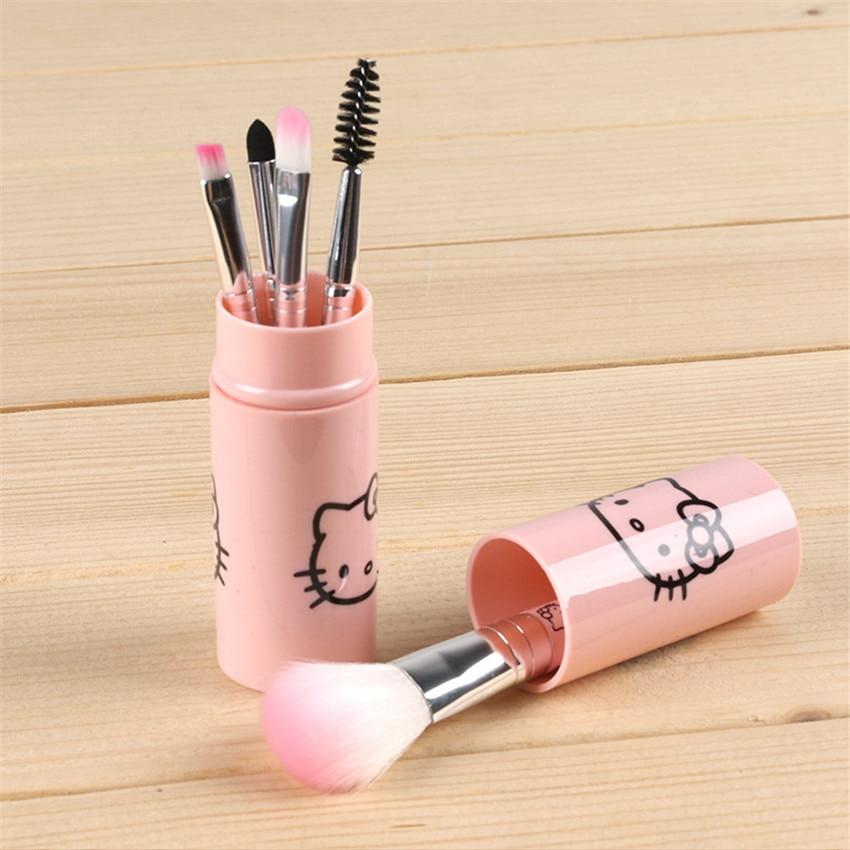 1fc642eba 5pcs/set pink hello kitty makeup brushes set Eyelashes lip Brush mini cute  Beauty Tools