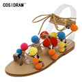 2017 New Summer Bohemia Sweet Women Sandals Mix Color Venonat Lace Up Flat Heels Women Casual Shoes Ladies Sandalias SNE-501