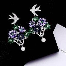 Ruifan High Quality Colorful Cubic Zircon Bird Flower Korean Special Earrings 2019 Woman Pearl Earring Jewelry Gift Girl YEA065