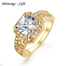 New Gold Plated Micro Inlay Clear Cubic Zircon Couple Wedding Jewelry Square Knuckle Rings Ladies Anillos CRI0016