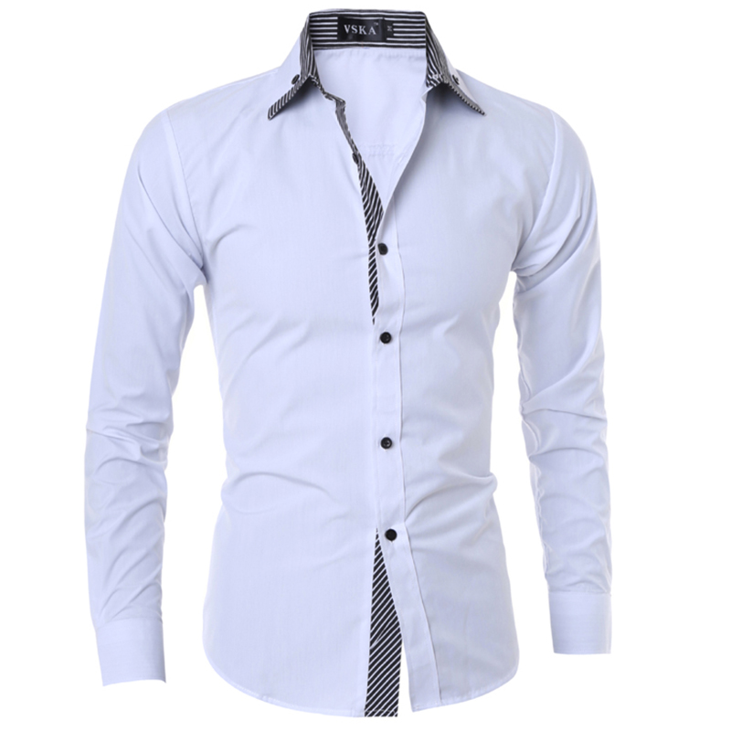Turn Down Collar White Black Business Fashion Men Shirts Summer Slim Fit Hipster Smart Casual Simple Hoodies Homme Tops Clothes