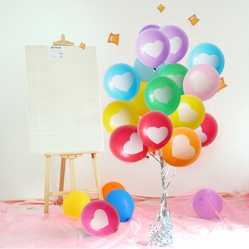 BTRUDI Heart shaped printed Candy color balloon 30pcs lot 12inch birthday party decorations kids helium balloon wedding in Ballons Accessories from Home Garden