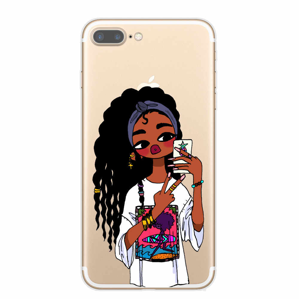 Afro Black Girl Magic Melanin Poppin Art phone Case For iPhone 7 5S SE 6s Soft TPU Silicone Phone Cover For iPhone 8 Plus X Case
