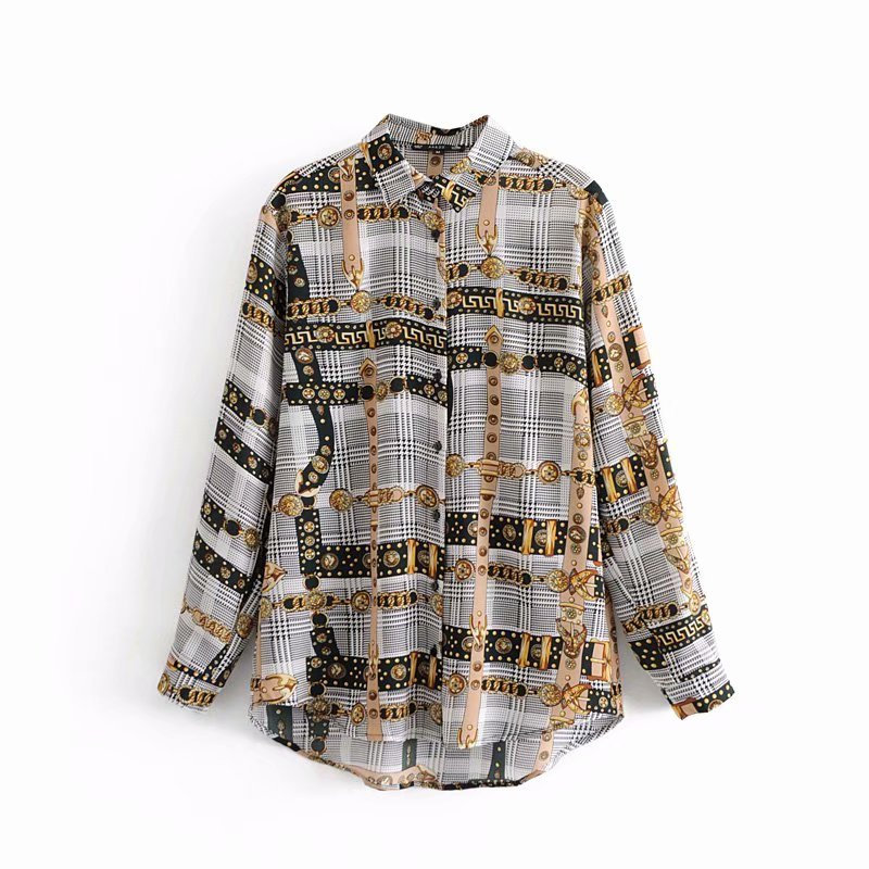 12f325e2e8 2019 NEW women vintage chain and plaid patchwork print casual smock blouse  shirts women long sleeve