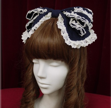 Sweet Lolita Hair Band with Bow Three Colors (Black, Pink, White) юбка lolita club lolita no 229