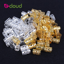 100 Pcs / Pack Rambut Dread Braids Dreadlock Bead Adjustable Cuff Clip kira-kira 10mm Lubang Micro Ring Beads Hair Styling Aksesoris