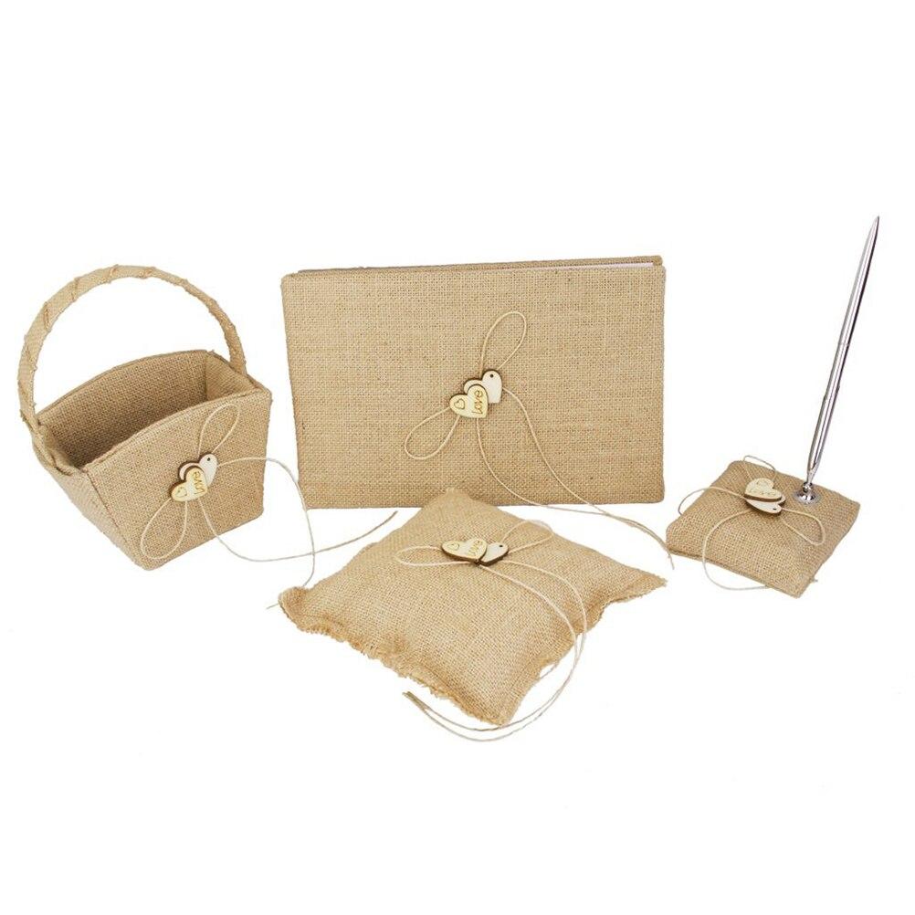 4pcs Wooden Heart Decorated Burlap Wedding Guest Book Pen Pillow Flower Basket Set Brown