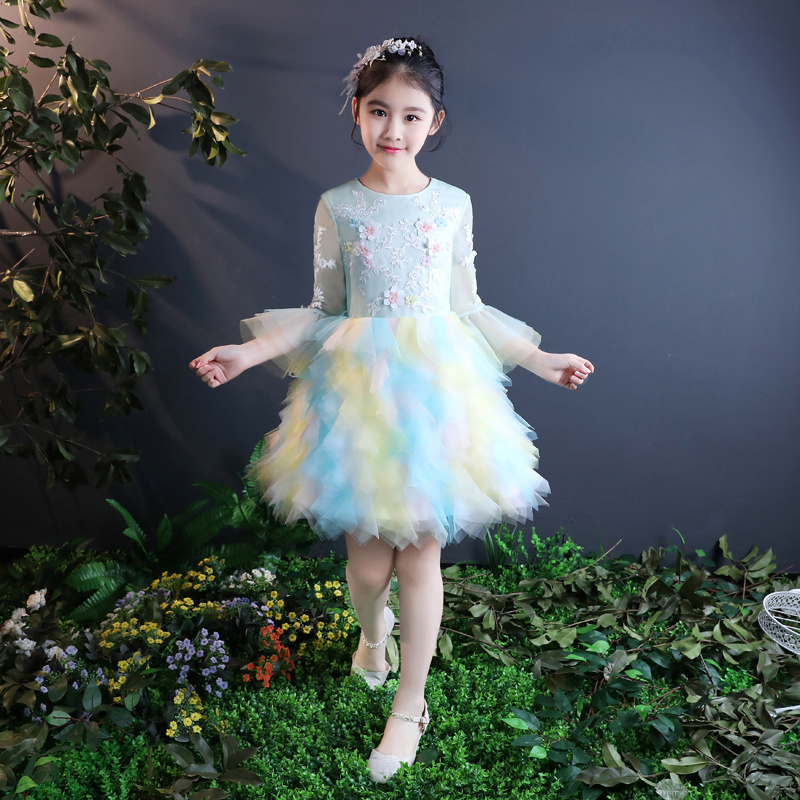 Pretty Rainbow Sleeves Knee Flower Girl Dresses Princess Dresses