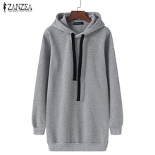 Oversized 2018 Spring Autumn ZANZEA Womens Long Sleeve Hooded Loose Casual Warm Hoodies Sweatshirt 3 Colors Plus Size S-5XL