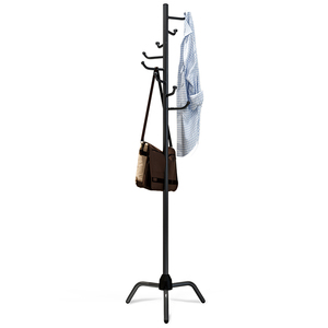 Image 3 - Coat Rack Clothes Tree Clothes Hat Tree Rack Free Standing Simple Fashion Hat and Coat Stand with 8 L Shaped Hooks Tripod Base