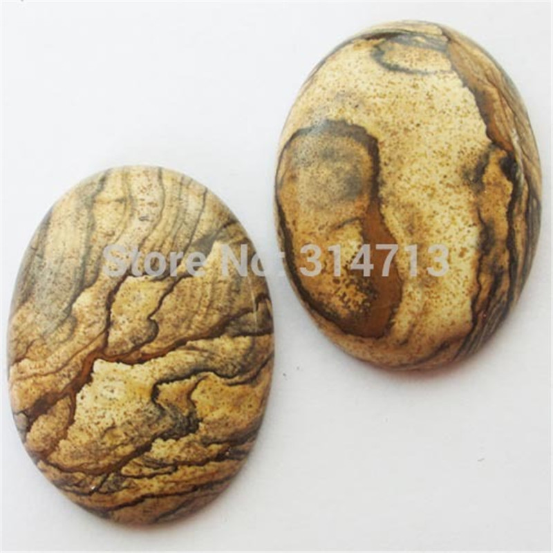 IMG1453 Beautiful 2pcs Picture Stone Oval CAB CABOCHON 40x30x8mm