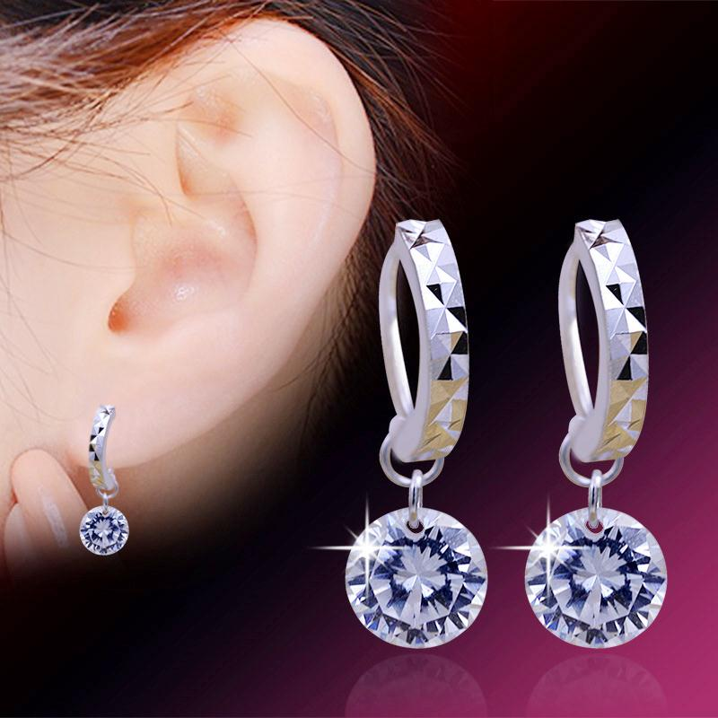 Trendy Fashion Wholesale Unique Clear CZ Shining Crystal 925 Sterling Silver Loop Earrings For Women Girl Female Daily Jewelry 4