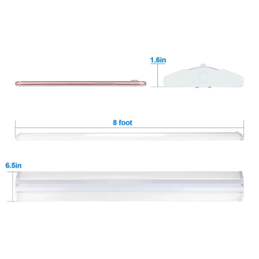 -110W 8FT LED Wraparound Ultra Slim Strip Lights, 12600 Lumens, 5000K, 8 Foot LED Garage Shop Light, No Glare, Flush Mount Office Ceiling Lighting Fixture, Fluorescent Tube Replacement