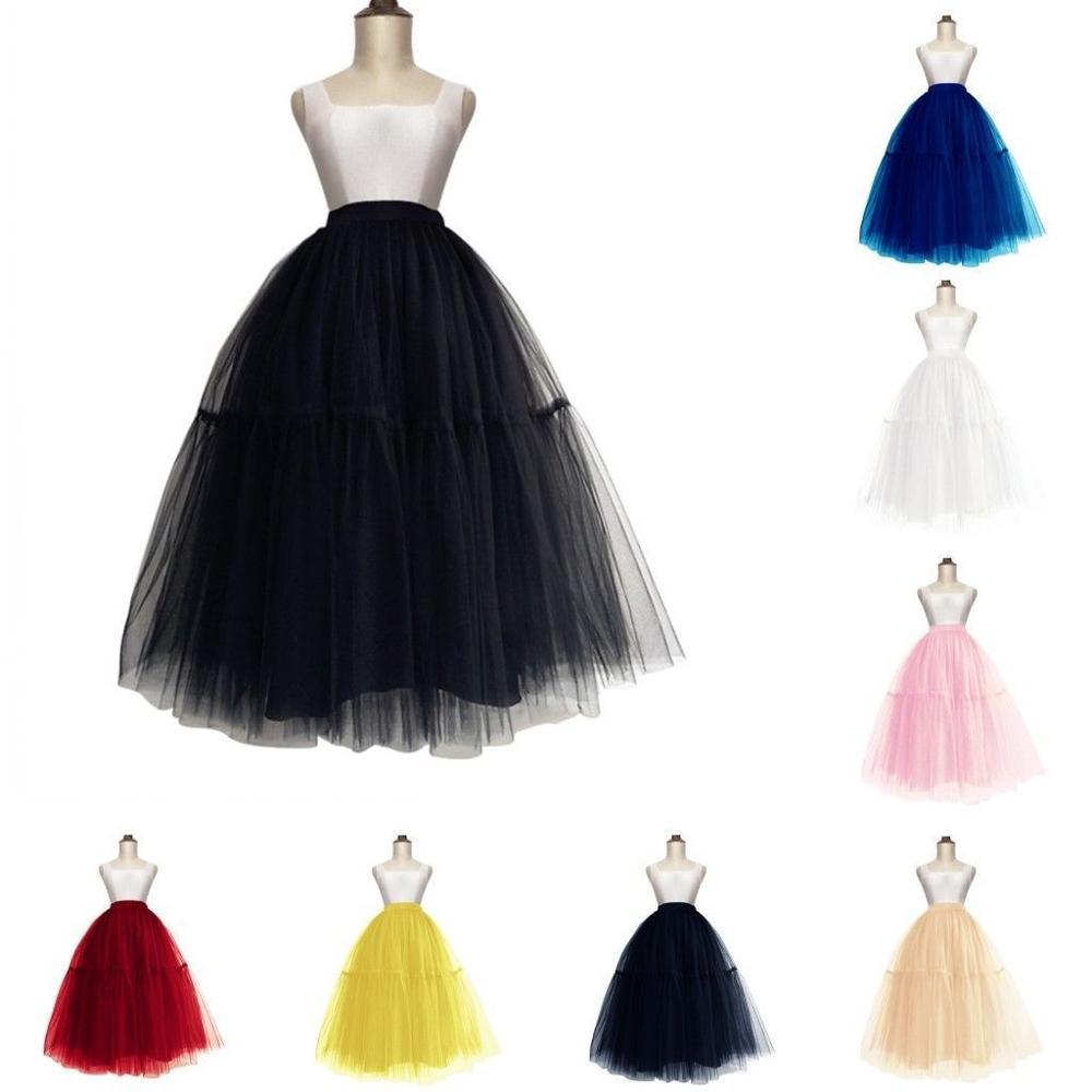 Black White Long Wedding Petticoat Crinoline Hoopless Layers Tulle Tutu Skirt Underskirt Slips Bridal Accessories 2020