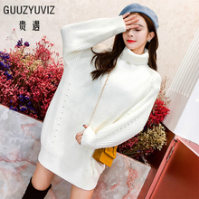 GUUZYUVIZ Casual Oversized Turtleneck Pullover Woman Dress Long Sleeve Thick Knitting Sweater Dress Women Black Red White Winter
