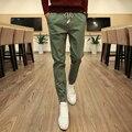 Homens Calça Casual Sólidos Calças Cáqui Calças Masculinas Do Exército Cordão Verde novo Estilo Dos Homens de Moda Slim Fit Corredores de Carga Longa Ativa calças