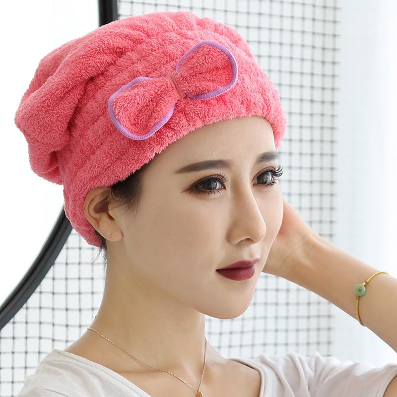 6 Colors Microfiber Solid Quickly Bath Towel Cap For Ladies