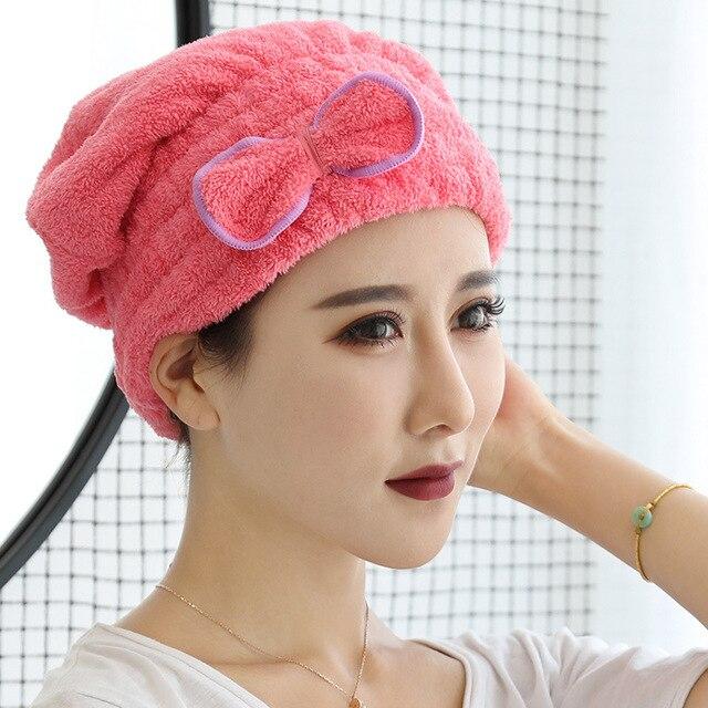 6 가지 색상 마이크로 화이버 솔리드 빨리 마른 머리 모자 머리 터번 여자 여자 숙녀 모자 입욕 건조 수건 머리 랩 모자