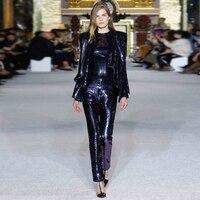 Adyce 2019 New Winter Woman Set Long Sleeve Coat&Jumpsuit Two Pieces Set Vestido Deep V Sequin Celebrity Evening Party Women Set